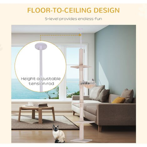 PawHut 5 Tier Floor to Ceiling Cat Tree Climbing Activity Tower Scratching Post 230-260cm