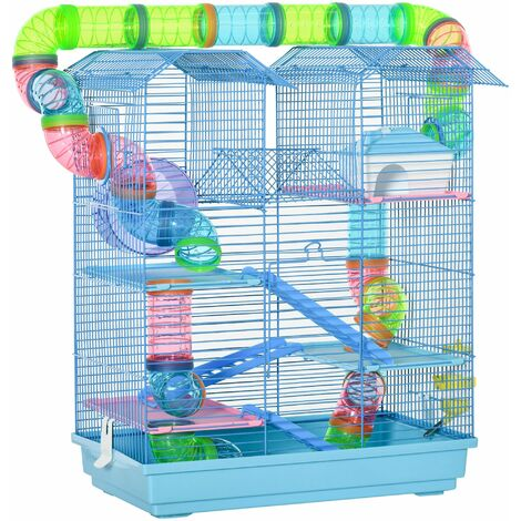 PawHut 5 Tier Small Animal Cage Activity Centre Fun Feeding Metal Wire Hamster