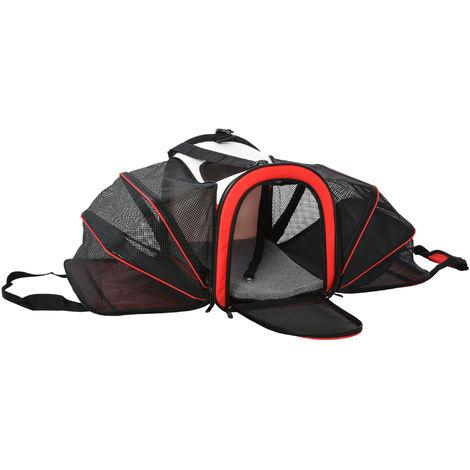 PawHut 50cm 2-Side Material Pet Carrier Expandable Foldable w/ Strap Handle