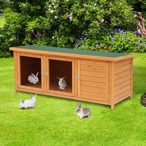 Pawhut 5ft Wooden Waterproof Rabbit Hutch And Run Outdoor Pet Poultry Ark House