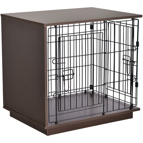 PawHut 64cm Duo Frame Dog Cage w/ 2 Secure Doors Flat Top Elevated Brown