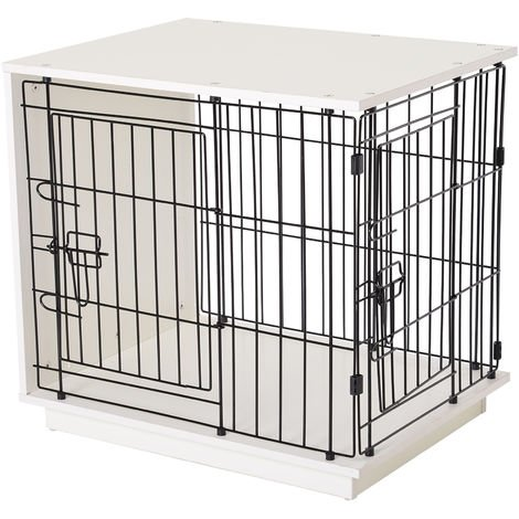 PawHut 64cm Duo Frame Dog Cage w/ 2 Secure Doors Flat Top Elevated White