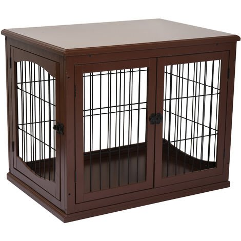 PawHut 66cm Modern Indoor Pet Cage Metal Wire 3 Doors Latches Base Crate Brown