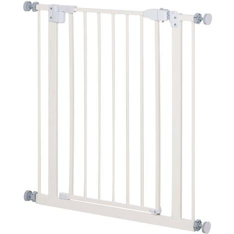 PawHut 74-84cm Adjustable Metal Pet Gate Safety Barrier w/ Auto-Close Door White