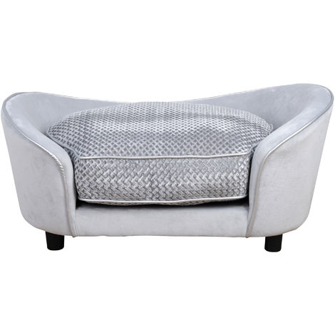 PawHut 78cm Sleek Pet Sofa Small Dog Pet Seat Padded Bed w/ Cushion Grey