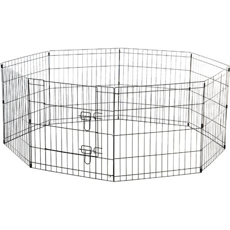 """main image of """"PawHut 8 Panel Pet Cage Playpen Dog Puppy Rabbits Guinea Metal Crate Fence Run Cage Kennel Indoor Outdoor (24-inch)"""""""
