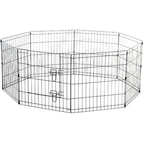 PawHut 8 Panel Pet Cage Playpen Dog Puppy Rabbits Guinea Metal Crate Fence Run Cage Kennel Indoor Outdoor