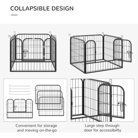 """main image of """"PawHut 82x82cm Collapsible Metal Pet Playpen Foldable Dog Cat Crate 4 Panel Kennel"""""""