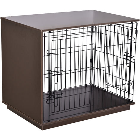 PawHut 89cm Duo Frame Dog Cage w/ 2 Secure Doors Flat Top Elevated Brown