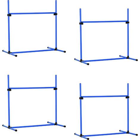 PawHut® Agility Hürdenset Slalom Stangen Hunde Training 4 x Hürden Set Blau