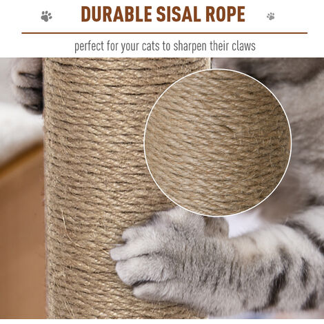 PawHut All-In-One Cat Kitten Tree Centre w/ Perch Ball Scratching Posts Beige