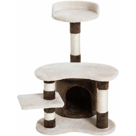 PawHut Árbol para gatos Juguete Rascador con Caseta Plataformas Centro de Juego 69cm