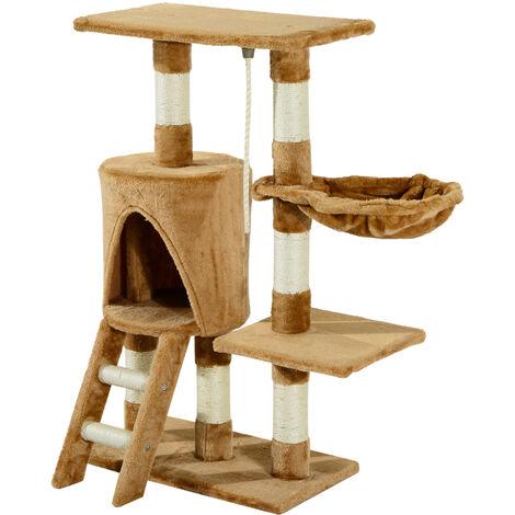 PawHut Árbol para gatos Rascador con Nido Plataforma Caseta Escalera Juguete 96cm