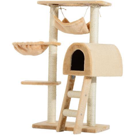 PawHut Árbol para Gatos Rascador Poste para Arañar Nido Plataforma Caseta Sisal Natural