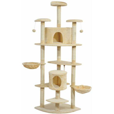 PawHut Árbol para gatos Rascador Grande con Nidos Plataformas Casetas Bolas de Juego