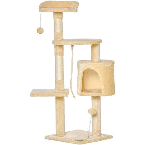 PawHut Árbol para gatos Rascador Grande con Plataformas Casetas Bolas de Juego 114cm - Beige