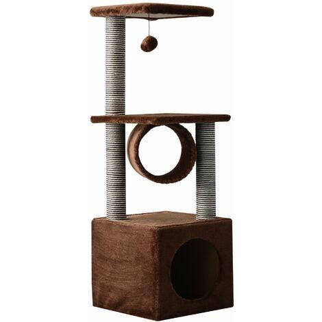 PawHut Árbol para gatos Rascador Grande con Plataformas Casetas Bolas de Juego 35x35x104 cm