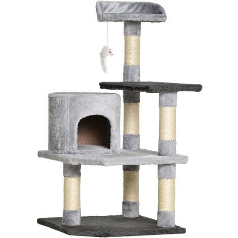 PawHut Árbol para gatos Rascador Grande con Plataformas Casetas Ratón de Juego 100cm tablero de partículas Cubierto de Felpa Beige