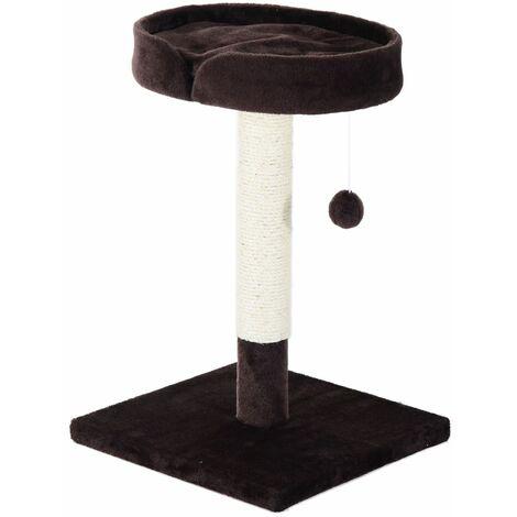 PawHut Árbol Rascador para Gato con Centro de Juego Cama y Poste para Arañar 45x45x70cm