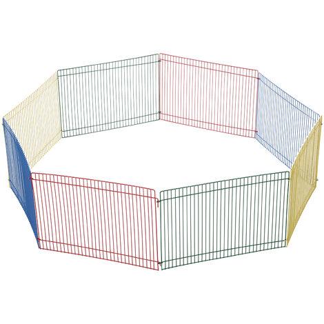 PawHut® Auslauf für Kleintier 8 Elemente Hamsterzaun Laufstall Freilaufgehege Metall Bunt 69 x 69 x 23 cm