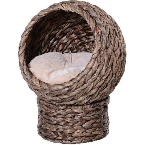 "main image of ""PawHut Banana Leaf Elevated Cat Kitten Sleep Rest Basket Hooded w/ Cushion"""