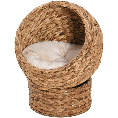 PawHut Bannana Leaf Wicker Cat House Bed Elevated w/ Removable Cushion