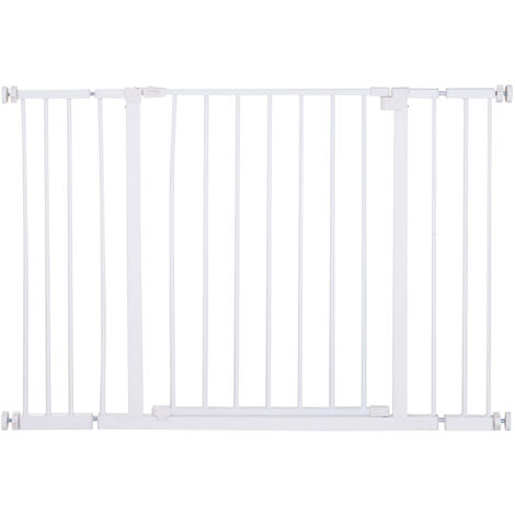 PawHut Barrera de Seguridad Extensible Puertas y Escaleras Metálica para Perros y Bebé - Blanco