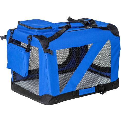 PawHut Bolsa de Transporte Perros Gatos Mascotas Viaje Tubo de Acero 3 Entradas, Medidas 60 x 42 x 42 cm, Color Azul / Negro, Pawhut