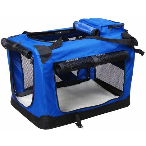 PawHut Bolsa de Transporte Perros Gatos Mascotas Viaje Tubo de Acero 4 Entradas, Medidas 70 x 52 x 52 cm, Color Azul / Negro,Pawhut