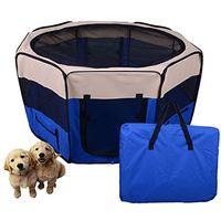 PawHut Box per animali domestici pieghevole, blu scuro, 125x125x58cm