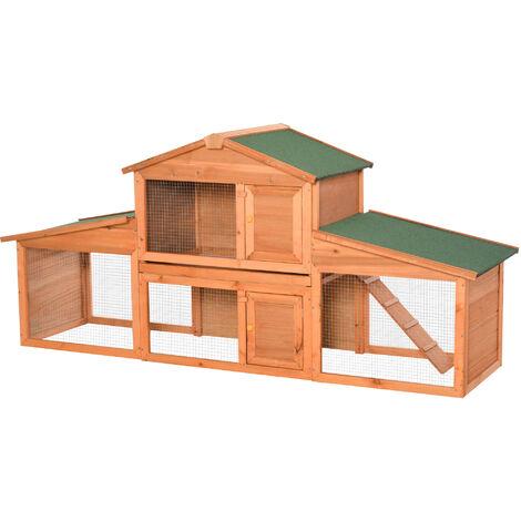 PawHut Casa para Conejos con Rampa y Zona Abierta 215x63x100 cm Madera