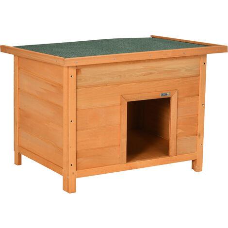 PawHut Caseta para Perro 85x58x58cm Madera Impermeable con Tejado Verde Abatible y Patas Elevadas