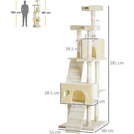 Pawhut Cat Activity Centre Sisal Kitten Tree Scratch Scratcher Scratching Post Toy Climbing Tree Bed Multi Level 181cm(H)
