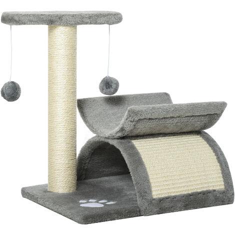 PawHut Cat Activity Climbing Tree Scratching Post Play Centre w/ Tunnel Grey