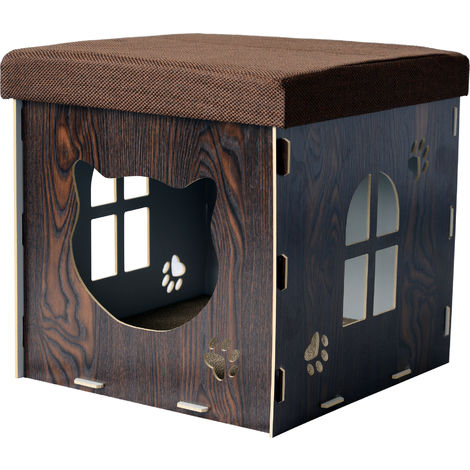 PawHut Cat Cave Pet House Footstool Upholstered Lid with Scratching Pad 41 x 41 x 41cm Brown