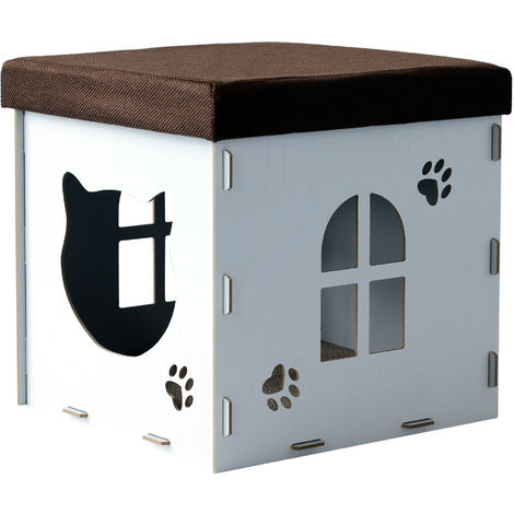 PawHut Cat Cave Pet House Footstool Upholstered Lid with Scratching Pad 41 x 41 x 41cm White