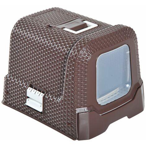 PawHut Cat Litter Box with Scoop Coffee 54L × 42W × 41H cm