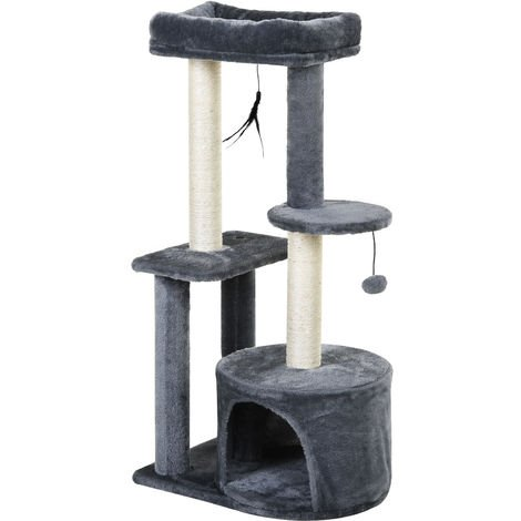 PawHut Cat Multi-Activity Tree Tower w/ Perch House Scratching Post Play Ball