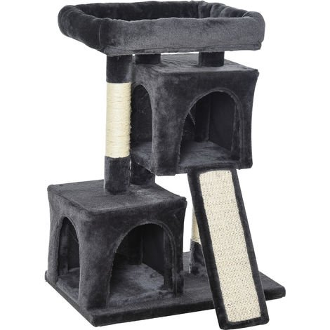 PawHut Cat Rest & Play Activity Tree w/ 2 House Perch Scratching Post Dark Grey