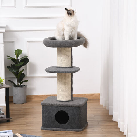 PawHut Cat Rest & Relax Tree Kitten Tower Multi-level w/ Sisal Scratching Grey