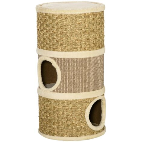 PawHut Cat Scratching Barrel Kitten Hut Tree Tower Pet Furniture Climbing