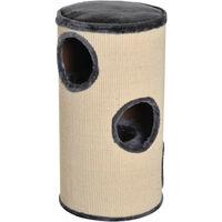 PawHut Cat Scratching Barrel Scratcher Post Tree 3 Dens Observation Deck 70cm High