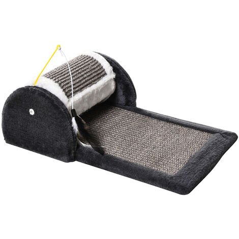 PawHut Cat Scratching Pad Board Mat Kitten Pet Roller Perches Platform Grey