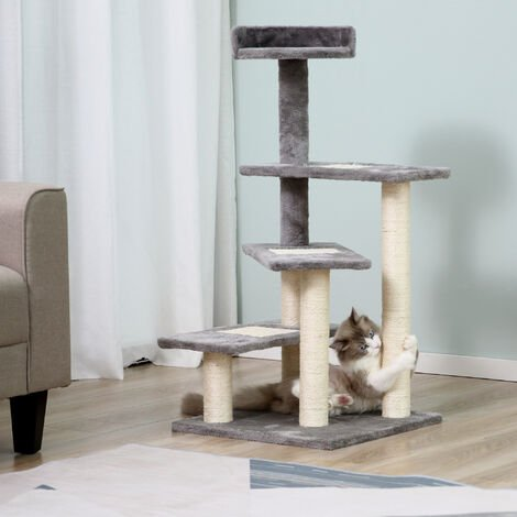PawHut Cat Tree Activity Center Kitten Climbing Tower Scratcher Scratching Post Plush Perch 101 cm Grey