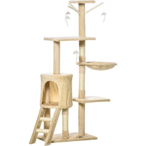 PawHut Cat Tree Activity Centre Scratcher Climbing Pet Scratching Post with Toys 5-tier 131cm Tall Beige