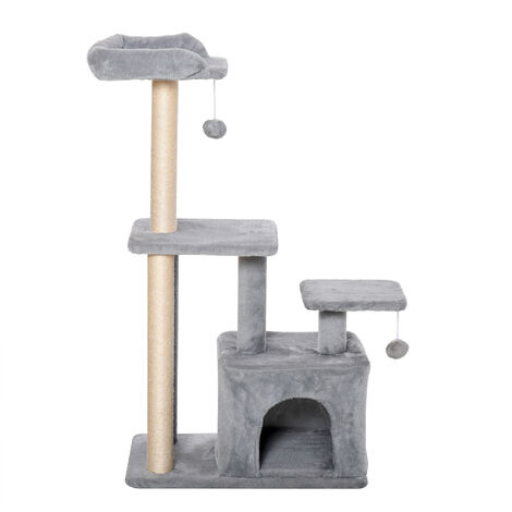 PawHut Cat Tree Activity Centre w/ Scratching Post Sisal Hanging Ball Light Grey