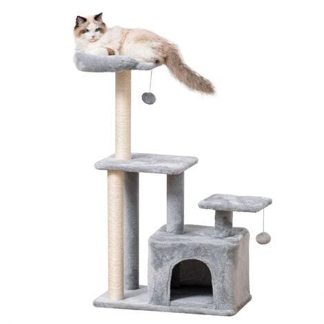 PawHut Cat Tree Activity Centre w/ Scratching Post Sisal Hanging Ball Light Grey