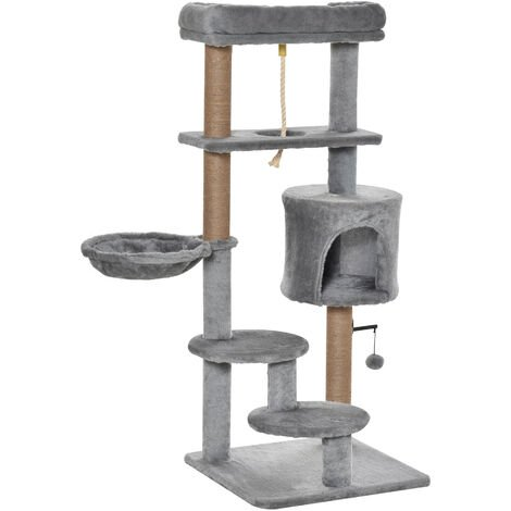 PawHut Cat Tree Climbing Kitten Activity Centre w/ House Hammock Bed