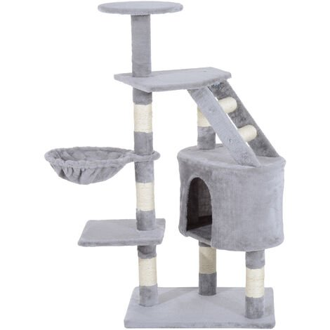 PawHut Cat Tree Kitten Scratching Post Play House Pet Furniture 125cm - Grey