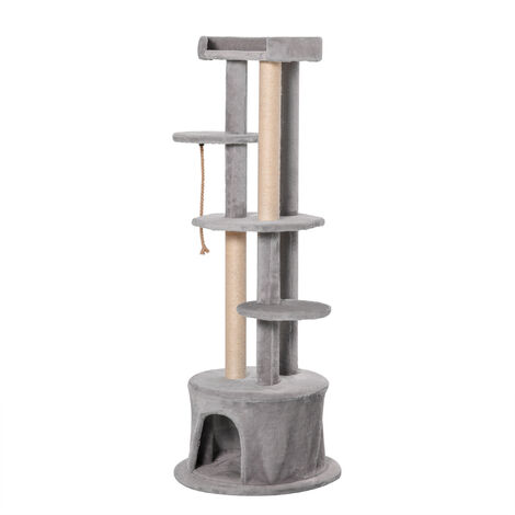 PawHut Cat Tree Kitten Tower Multi-level Activity Centre w/ Scratching Post Grey